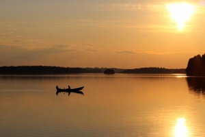 Boat, lake, sunset, Kivijärvi.