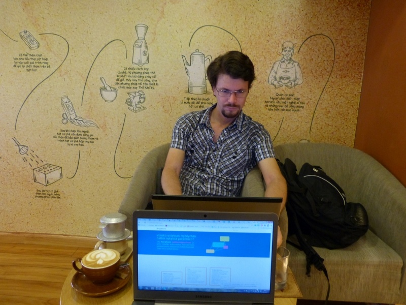 Working in a cafe, Ho Chi Minh City