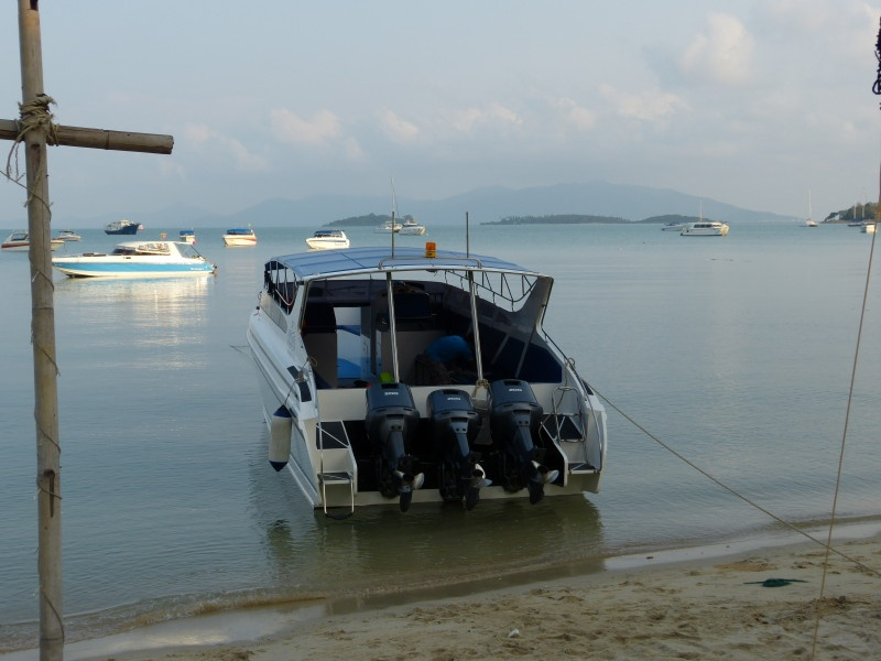 A boat on a beach, Chaweng.
