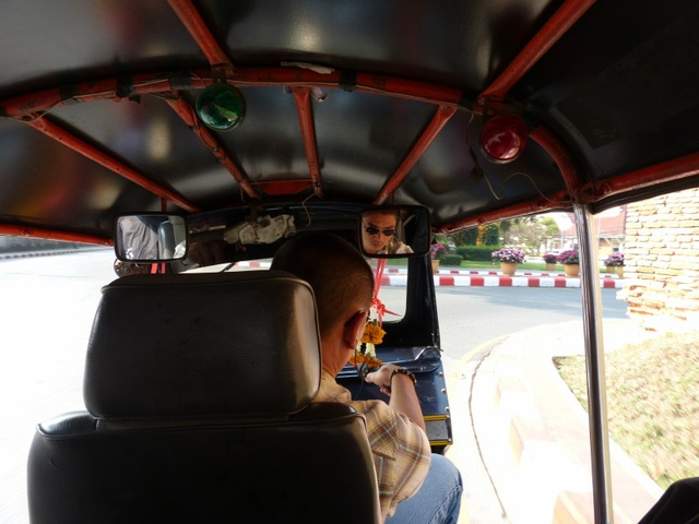 on a tuktuk ride in Chiang Mai